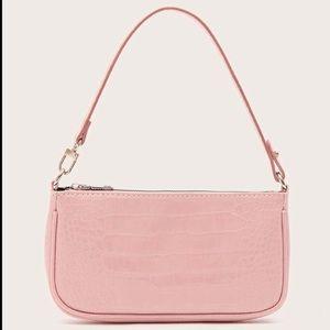 NEW Pink Faux Leather Croc Baguette Bag